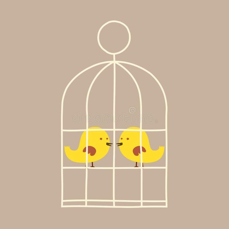Pájaros preciosos en jaula stock de ilustración