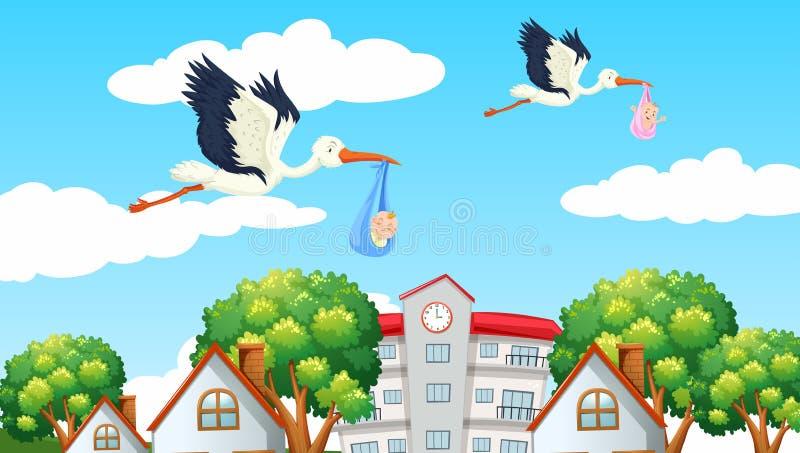 Pájaros que entregan a bebés en el vecino ilustración del vector