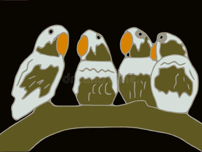 Pájaros que se sientan en una rama ilustración del vector
