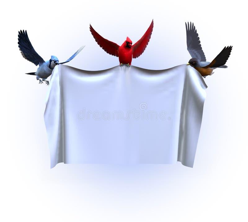 Pájaros que sostienen una bandera en blanco - con el camino de recortes stock de ilustración