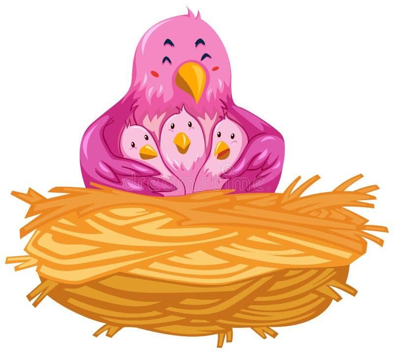 Pájaros que viven en la jerarquía ilustración del vector