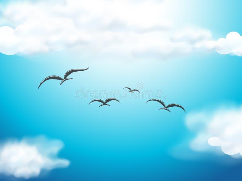 Pájaros que vuelan en el cielo azul stock de ilustración
