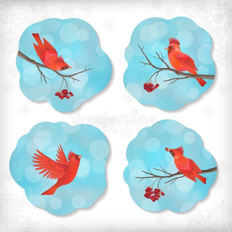 Pájaros Rowan Tree Branches de la etiqueta engomada de la Navidad del invierno ilustración del vector