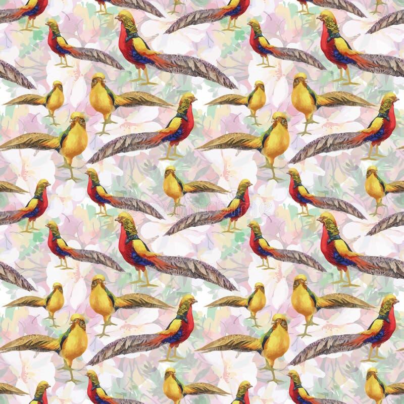 Pájaros salvajes de los animales del faisán en modelo inconsútil floral de la acuarela stock de ilustración