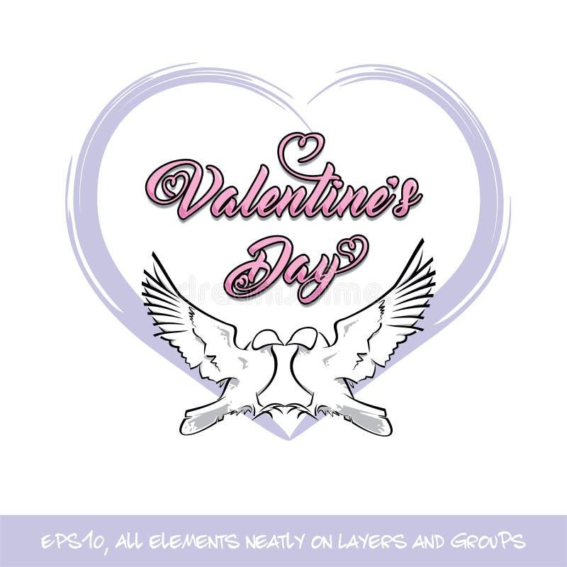 Pájaros Valentine Day Purple Heart del amor ilustración del vector