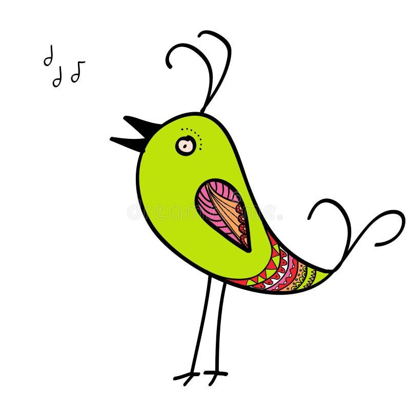 Pájaros verdes del canto ilustración del vector