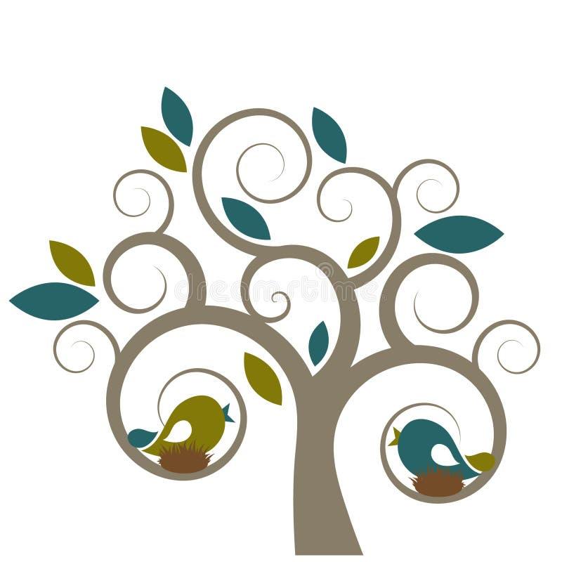 Pájaros y árbol