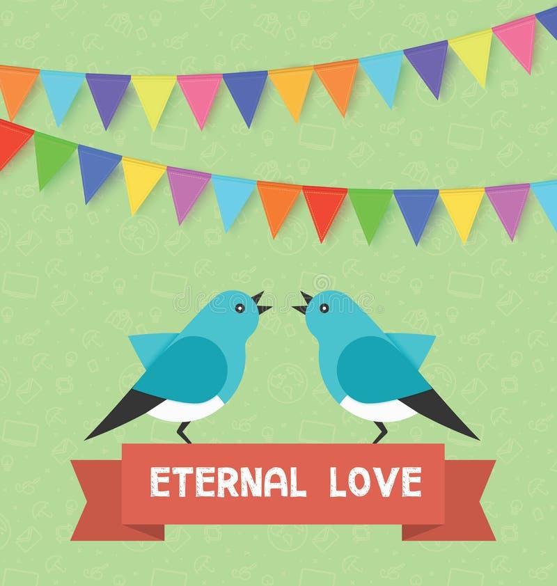 Pájaros y amor eterno de la bandera del texto, banderas, guirnaldas Vector el ejemplo para el día de San Valentín del santo, cump libre illustration