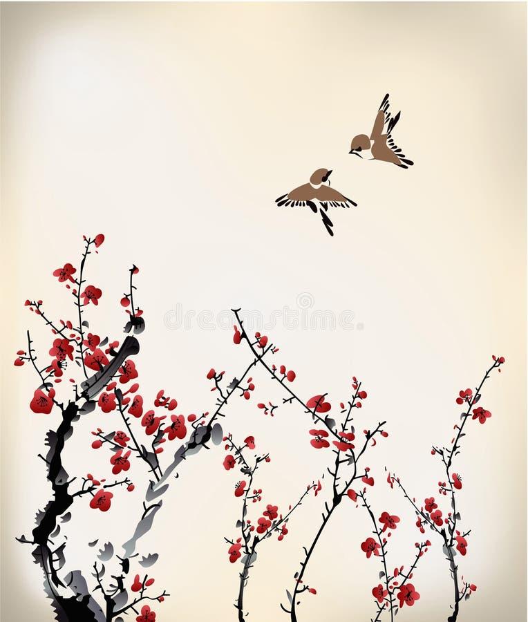 Pájaros y dulce de invierno stock de ilustración