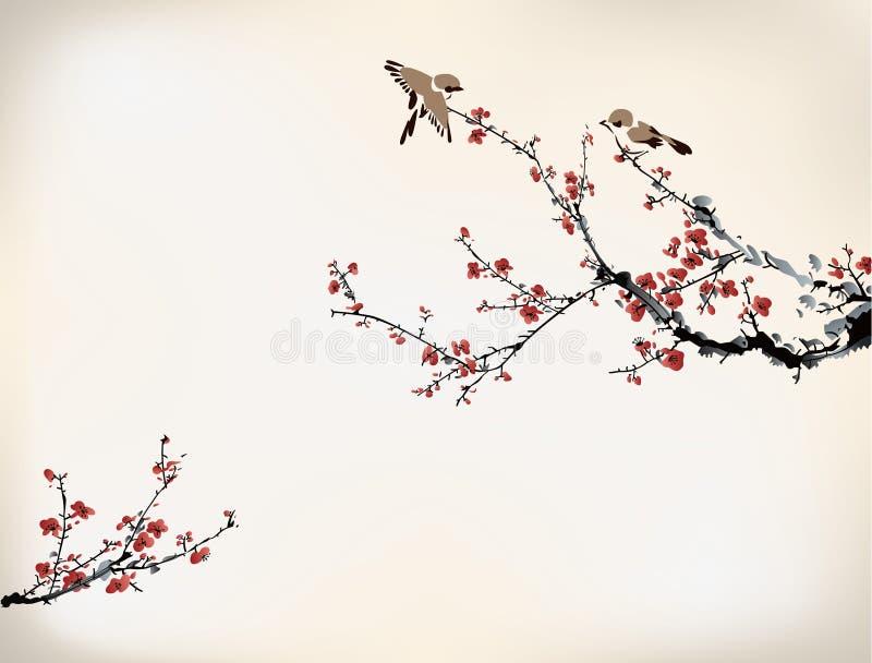 Pájaros y dulce de invierno ilustración del vector