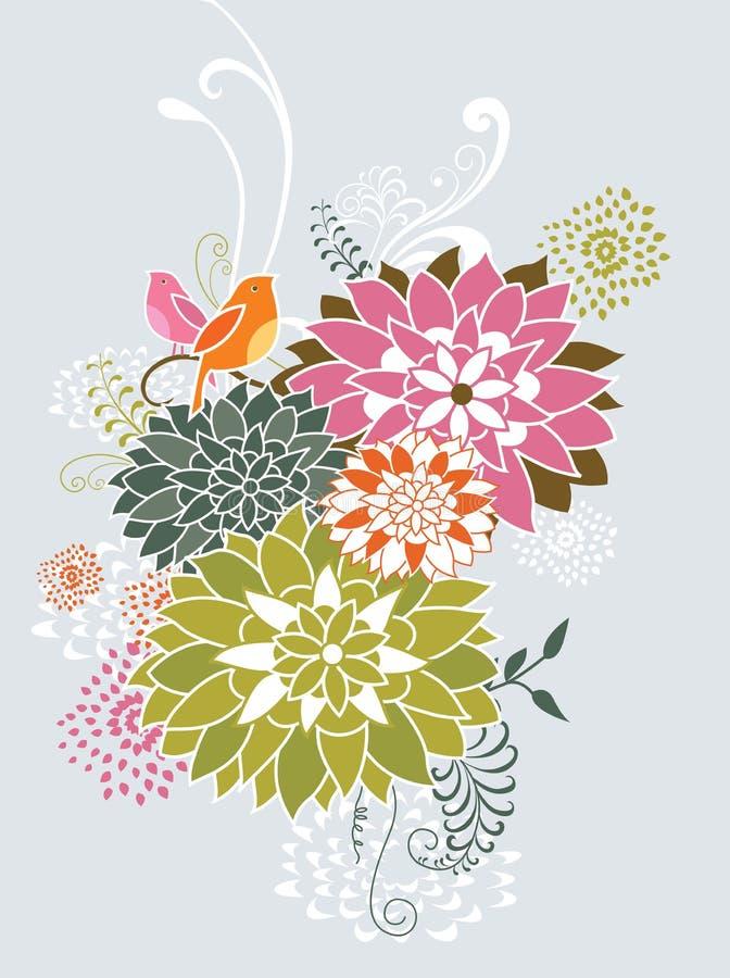 Pájaros y floral caprichosos stock de ilustración