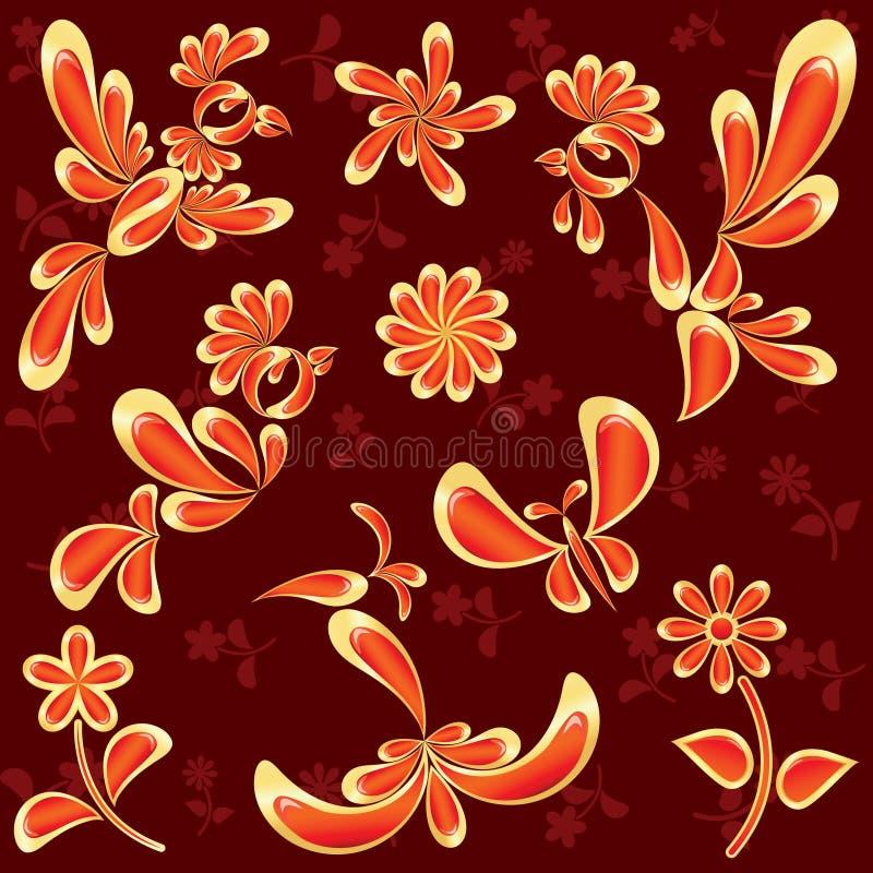 Pájaros y flores aislados en rojo stock de ilustración