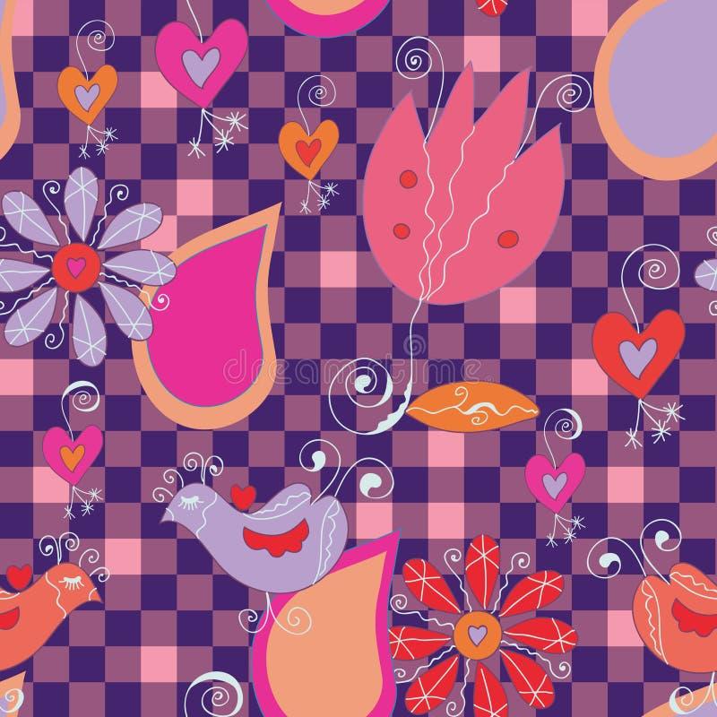 Pájaros y flores inconsútiles libre illustration