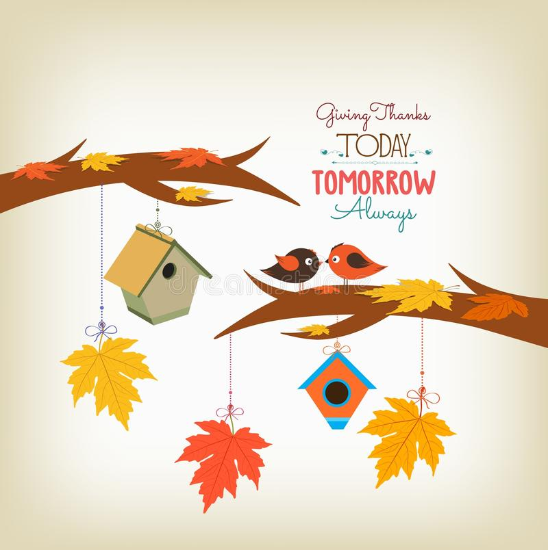 Pájaros y hojas de arce felices de la acción de gracias libre illustration