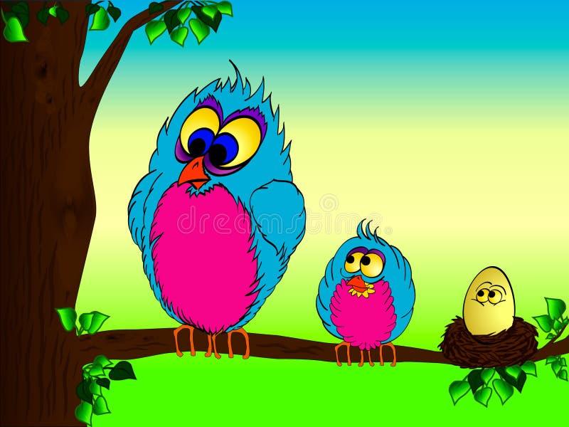Pájaros y huevo de la historieta en el árbol stock de ilustración