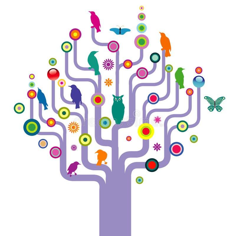 Pájaros y mariposas en árbol stock de ilustración