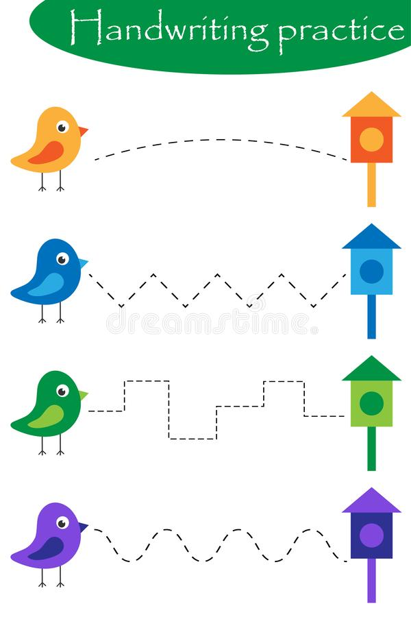 Pájaros y nidal, hoja de la práctica de la escritura de la primavera, actividad preescolar de los niños, juego educativo de los n libre illustration