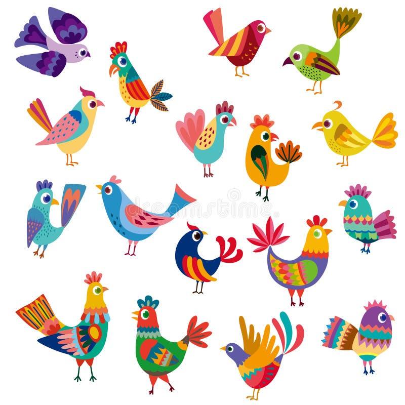 Pájaros y polluelos lindos libre illustration