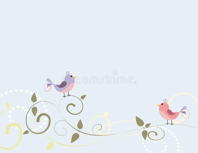 Pájaros y remolinos ilustración del vector