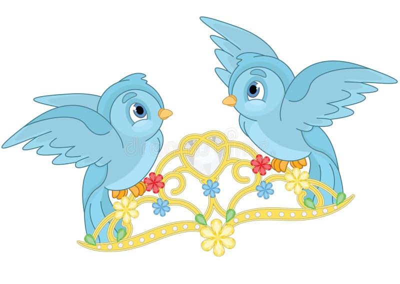 Pájaros y tiara azules libre illustration