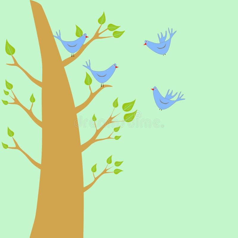 Pájaros y un árbol stock de ilustración