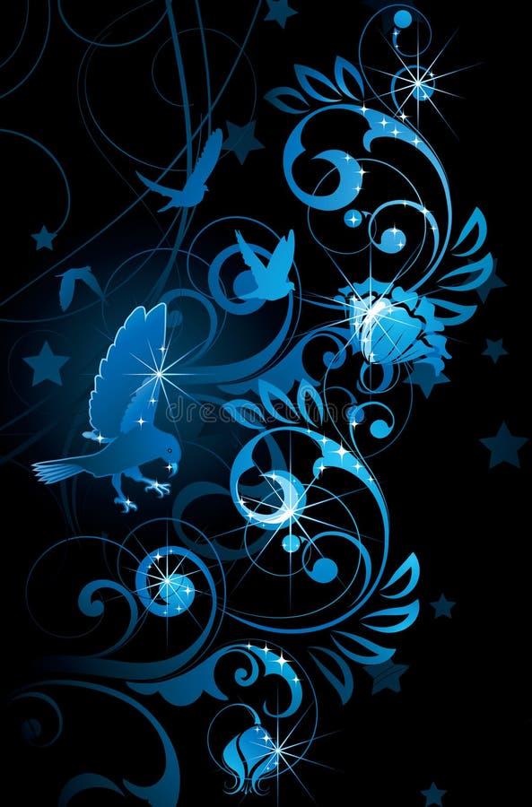 Pájaros y vides azules ilustración del vector