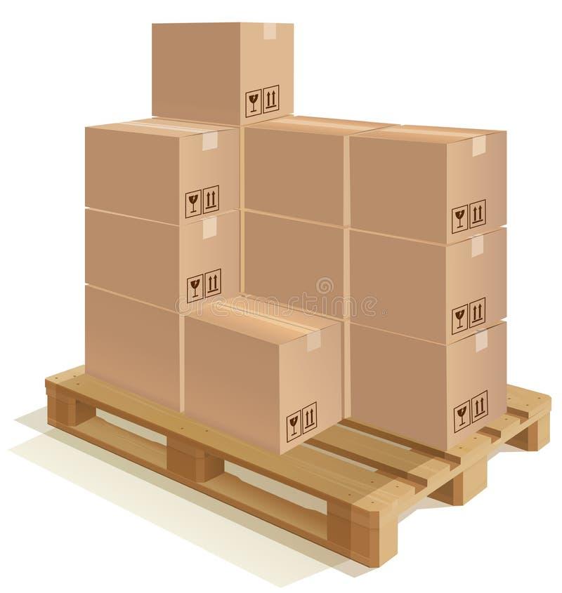 Pálete com caixas ilustração do vetor