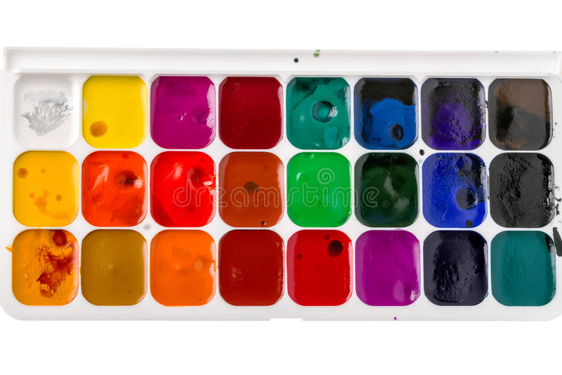 Pálete das cores de água foto de stock