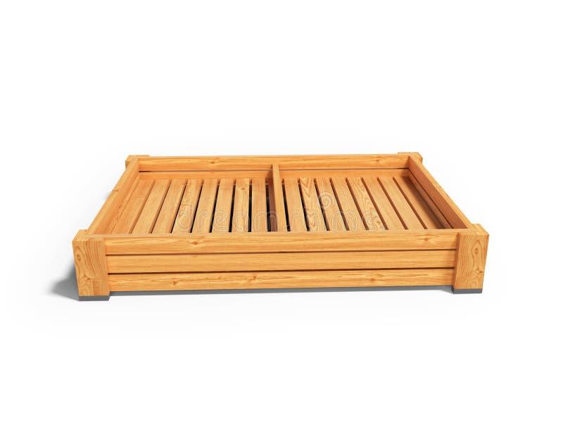 Pálete de caixa de madeira para a apresentação dos vegetais para a venda 3d para render no fundo branco com sombra ilustração do vetor