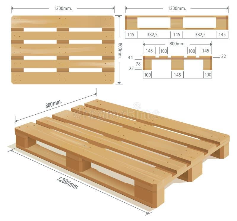 Pálete de madeira ilustração do vetor