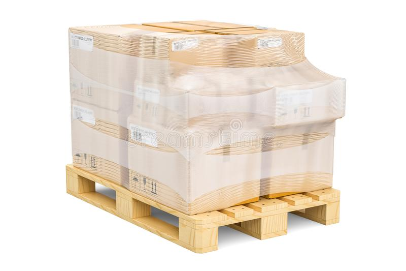 Pálete de madeira com os pacotes envolvidos no filme de estiramento, rende 3D ilustração royalty free