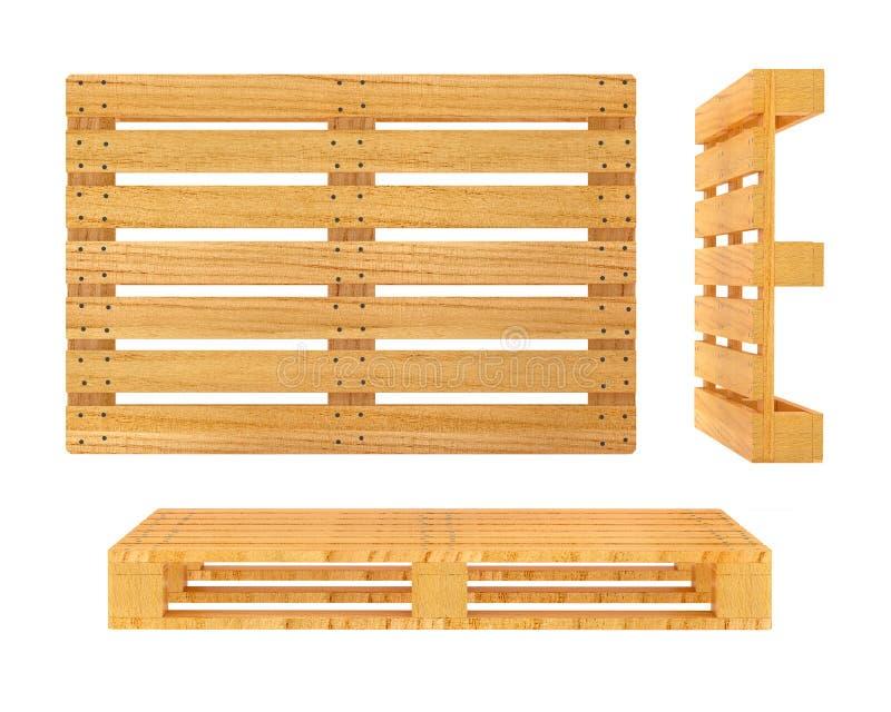 Pálete de madeira isolada no fundo branco ilustração do vetor