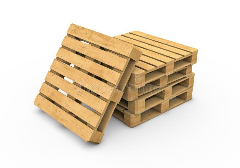 Pálete de madeira isolada no fundo branco ilustração stock