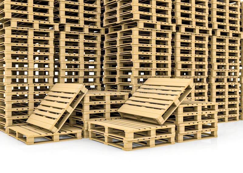 Pálete de madeira Isolado ilustração royalty free