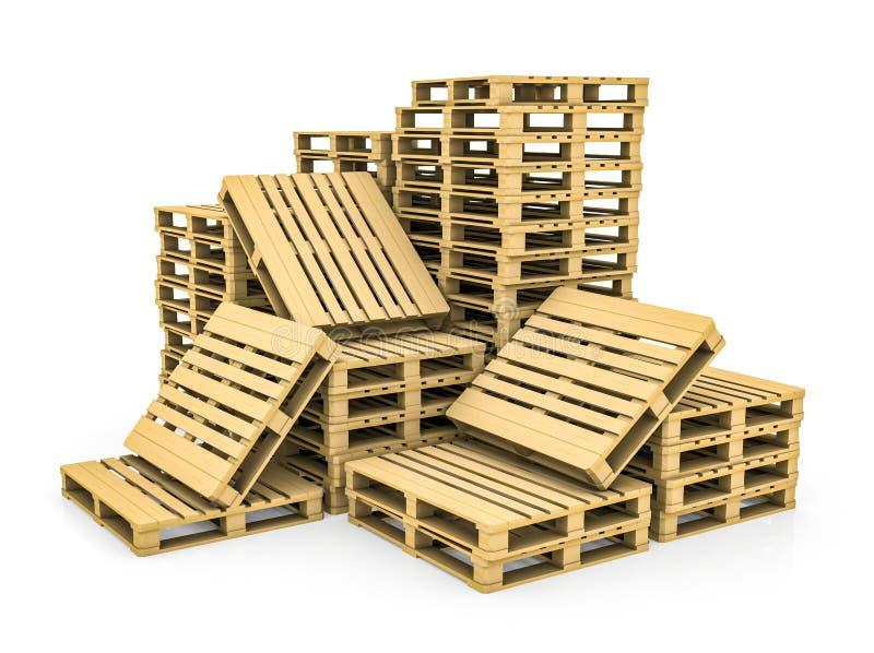 Pálete de madeira Isolado ilustração stock