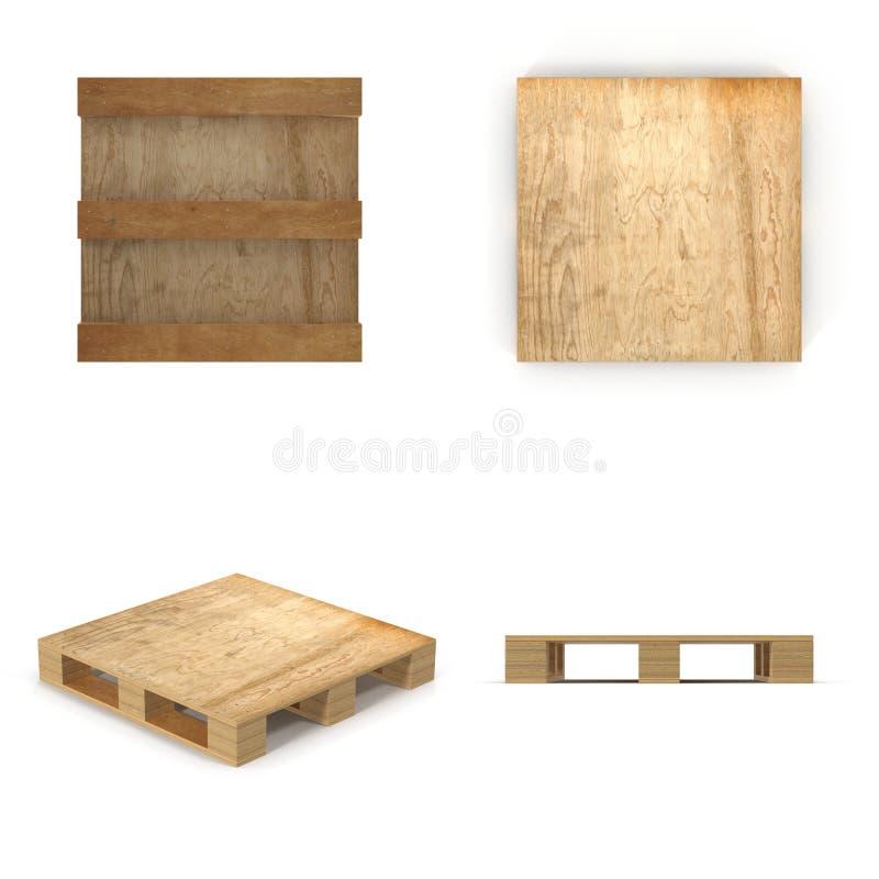 Pálete de madeira Isolado no branco ilustração 3D ilustração royalty free