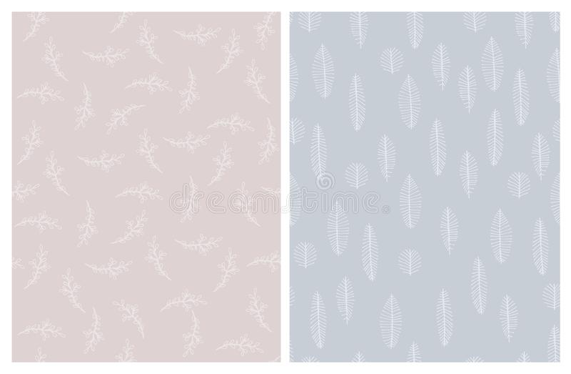 Pálido ligero - modelos abstractos exhaustos del vector de las hojas y de las ramitas de la mano rosada y azul ilustración del vector