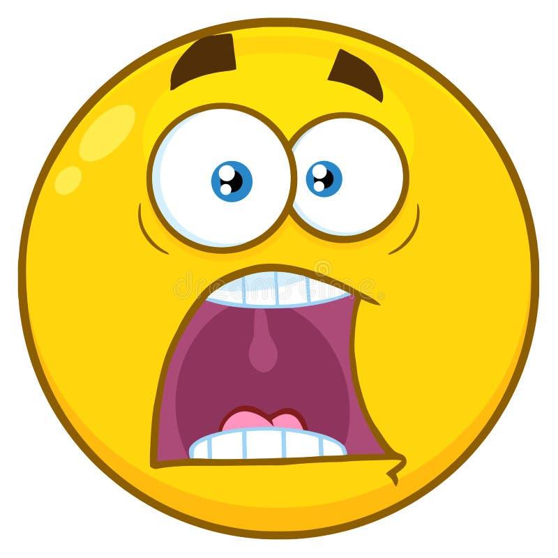 Pánico amarillo divertido de Smiley Face Character With Expressions A de la historieta ilustración del vector