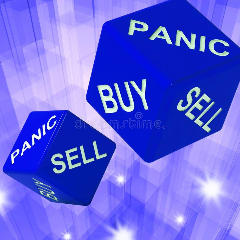 Pánico, compra, fondo de los dados de la venta que muestra Transacti internacional libre illustration