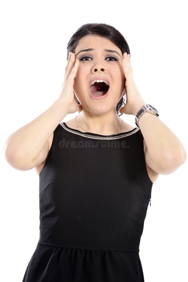 Pánico de la mujer de negocios fotos de archivo