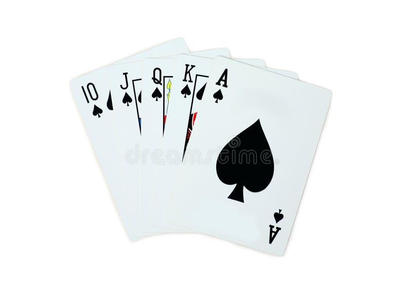 Pás do pôquer de 10 cartões de jogo de J Q K A isolados no fundo branco fotografia de stock