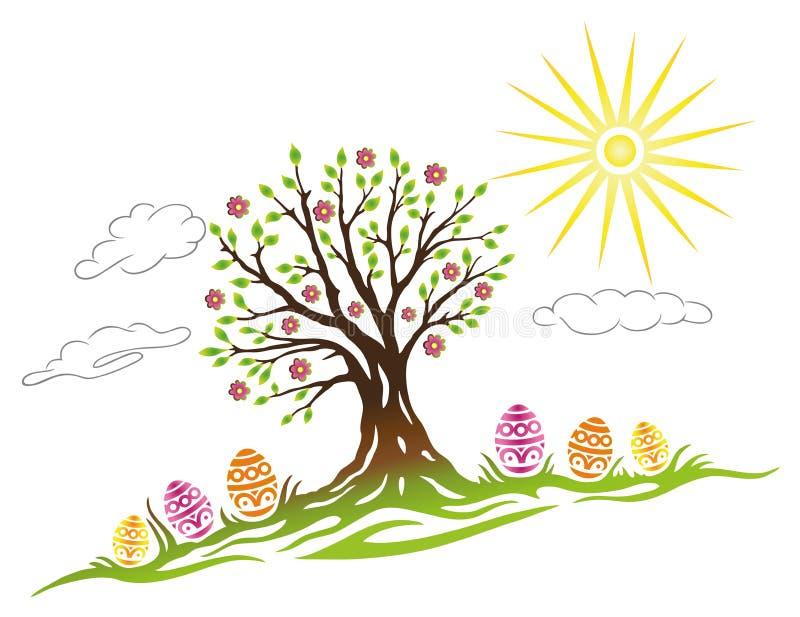 Páscoa, árvore, ovos ilustração stock