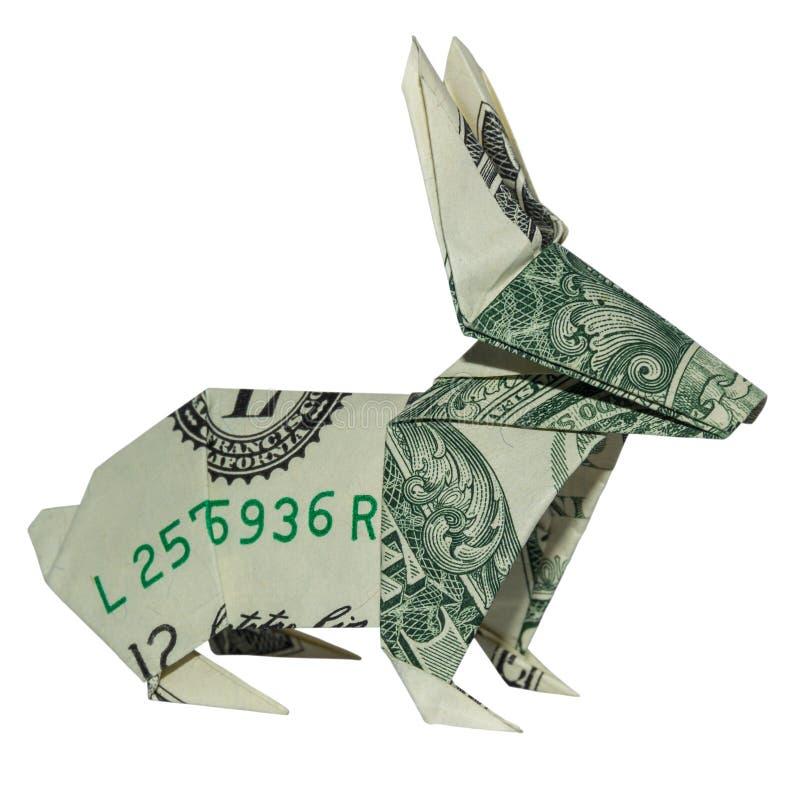 Páscoa Bunny Folded Hare do origâmi do COELHO do dinheiro foto de stock