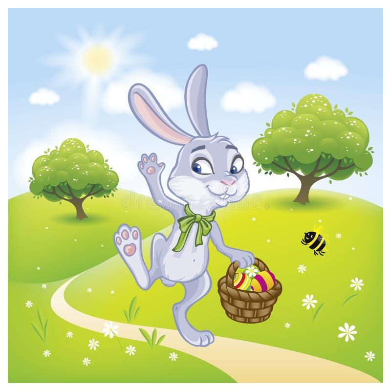 A Páscoa Bunny With uma cesta completamente de ovos da páscoa pintados ilustração royalty free