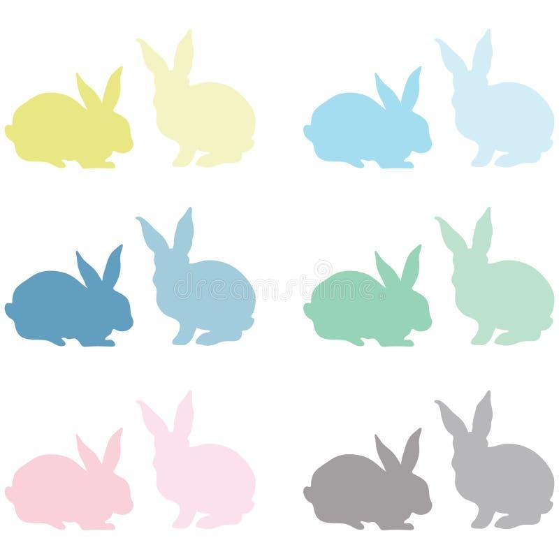 Páscoa colorida Bunny Silhouette ilustração royalty free