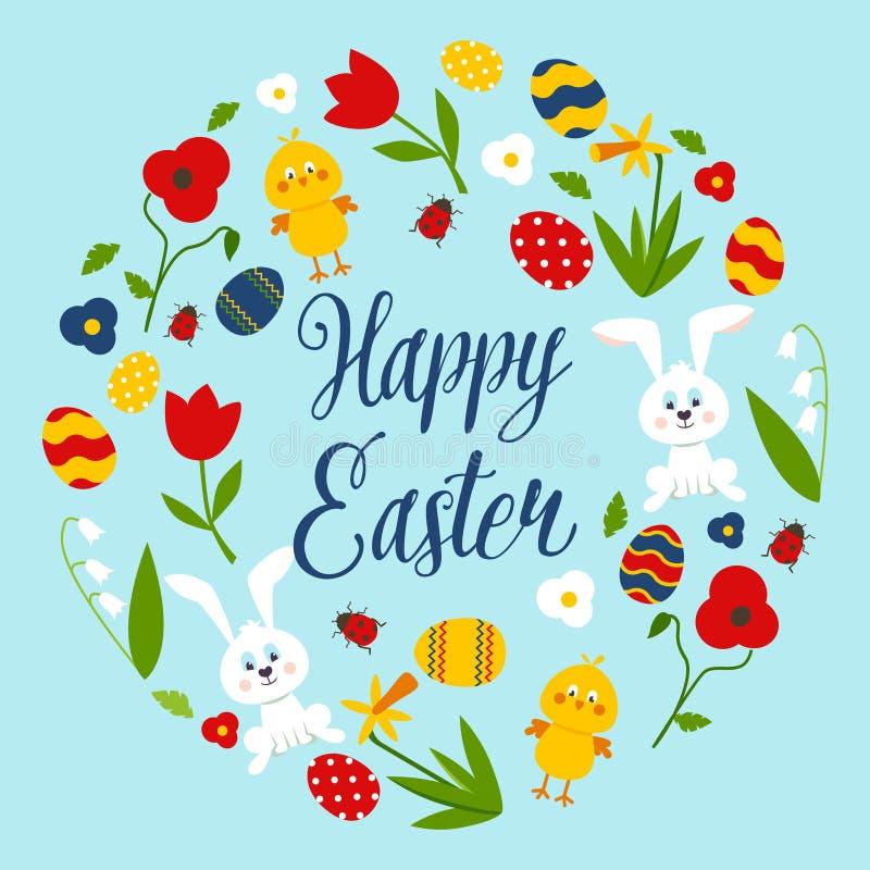 Páscoa e bicicleta felizes com grinalda, coelho, galinha, ovos, papoilas ilustração do vetor