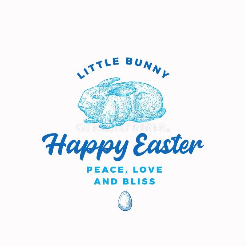 Páscoa feliz Bunny Abstract Vetora Sign, símbolo ou Logo Template Mão tirada gravando o esboço de Sillhouette do coelho do estilo ilustração do vetor