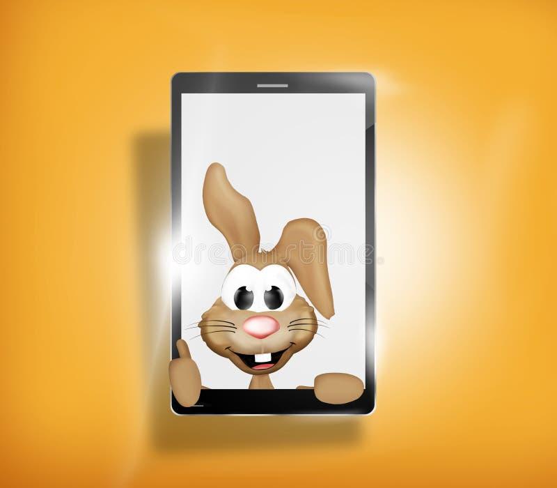 Páscoa feliz Bunny Mobile Phone ilustração stock