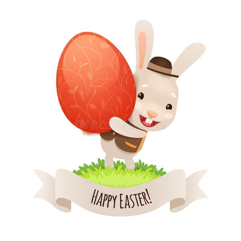 Páscoa feliz Bunny With Red Egg ilustração do vetor