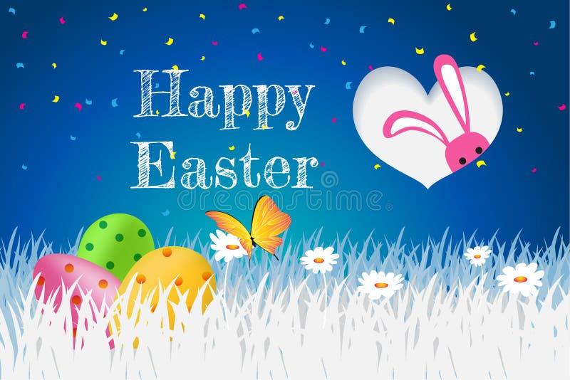 Páscoa feliz, cartão com ovos, grama do molde, coelho, flores ilustração stock